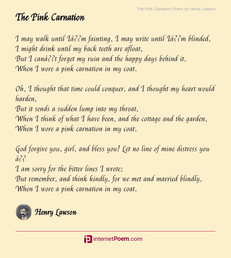 The Pink Carnation Poem By Henry Lawson