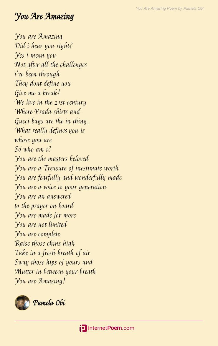 You Are Amazing Poem by Pamela Obi