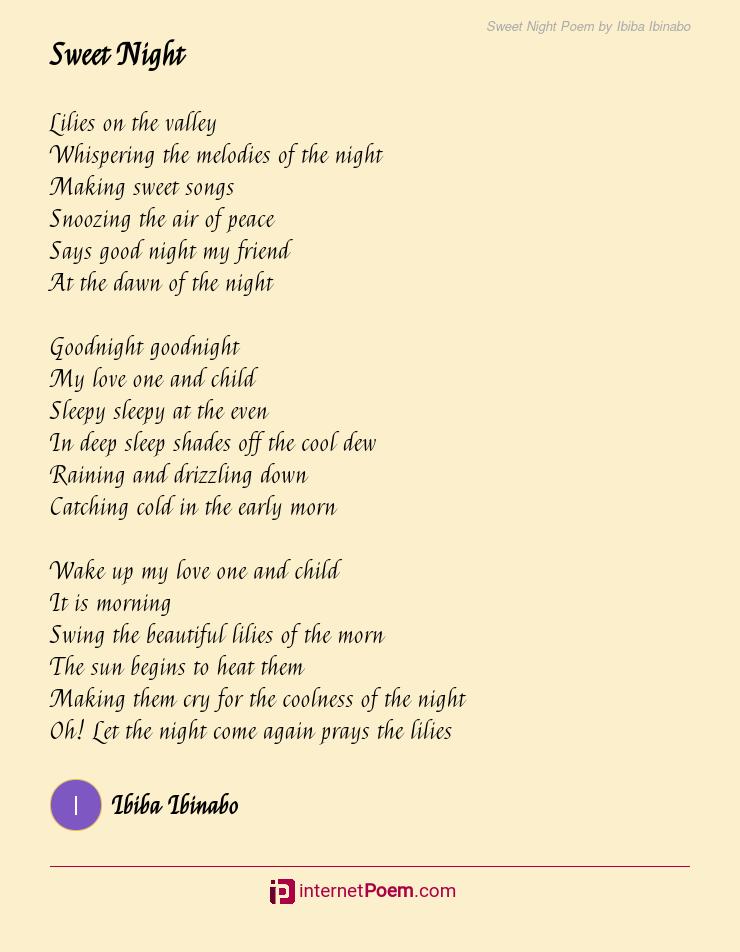 Sweet good night poems
