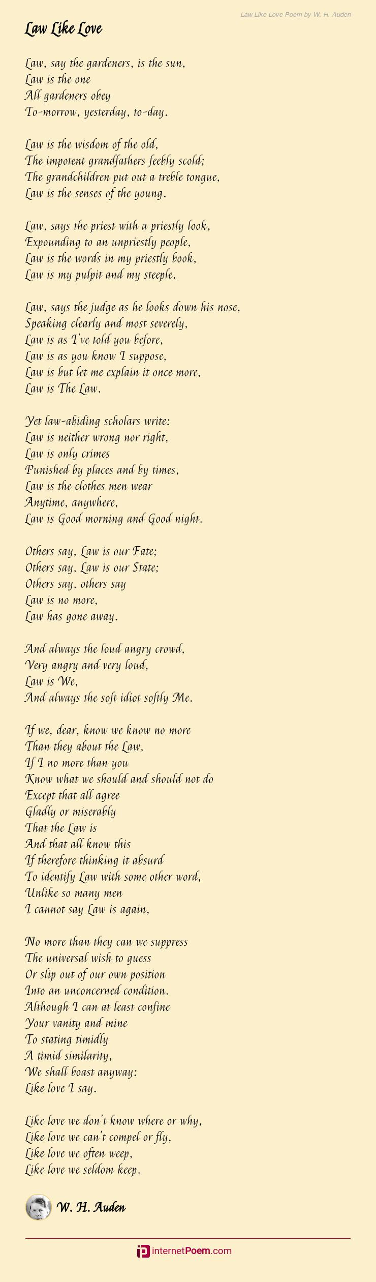 Law Like Love Poem By W H Auden
