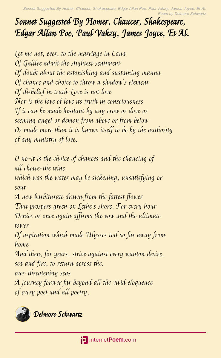 Sonnet Suggested By Homer Chaucer Shakespeare Edgar Allan
