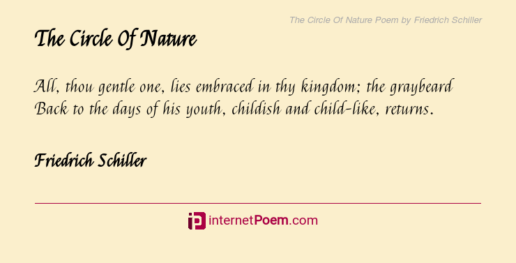 The Circle Of Nature Poem By Friedrich Schiller