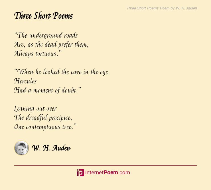 Three Short Poems Poem By W H Auden