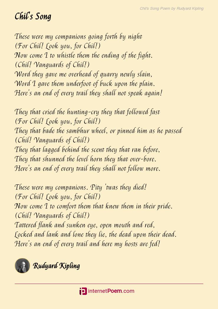 Chils Song Poem By Rudyard Kipling