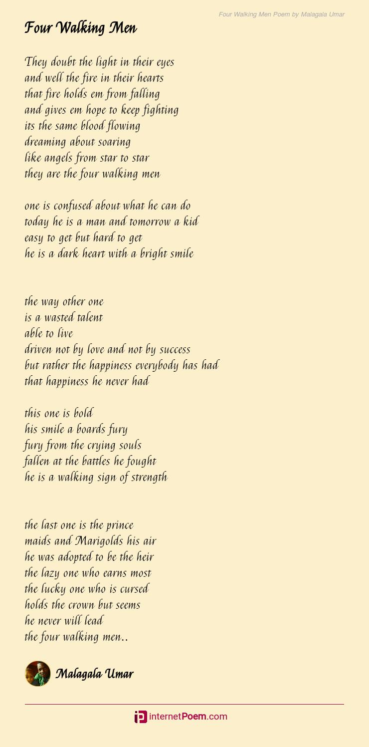 Four Walking Men Poem by Malagala Umar
