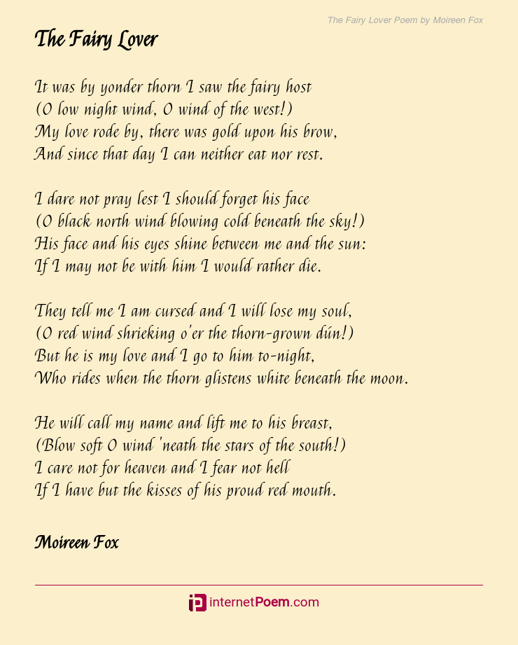 The Fairy Lover Poem by Moireen Fox