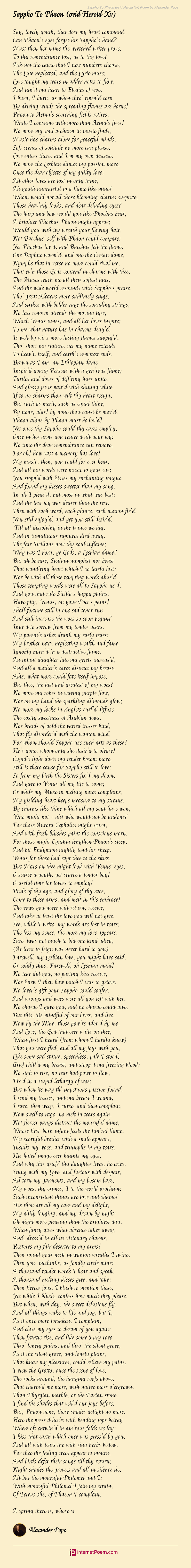 Sappho To Phaon Ovid Heroid Xv Poem By Alexander Pope