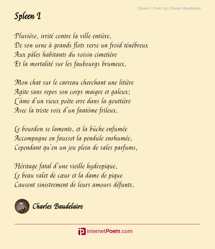 Spleen I Poem By Charles Baudelaire