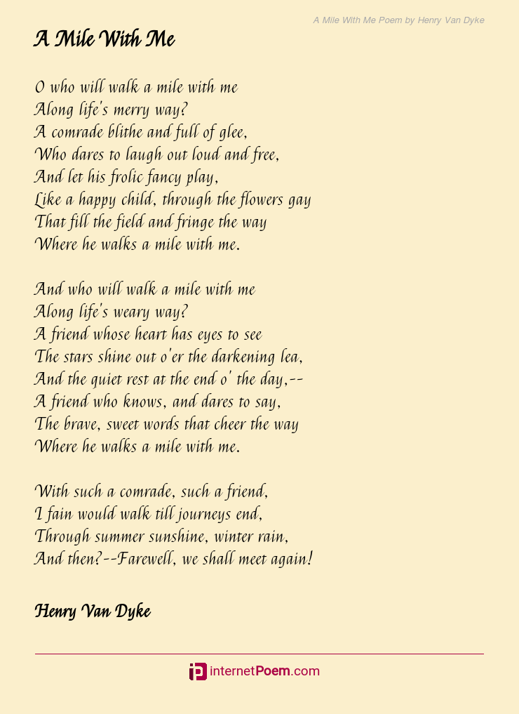 A Mile With Me Poem By