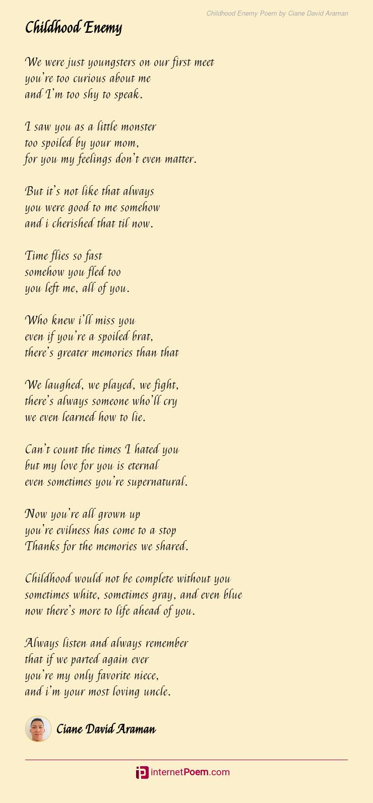 Love david i poems you Love Poems