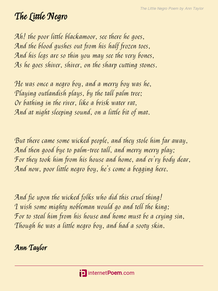 The Little Negro Poem By Ann Taylor