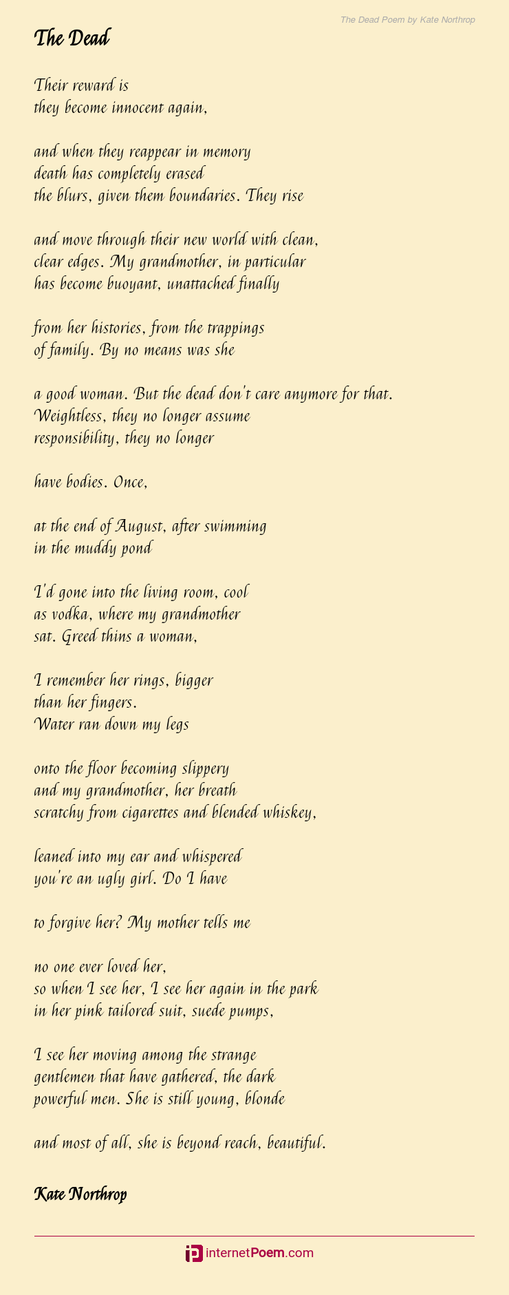 The Dead Poem By Kate Northrop