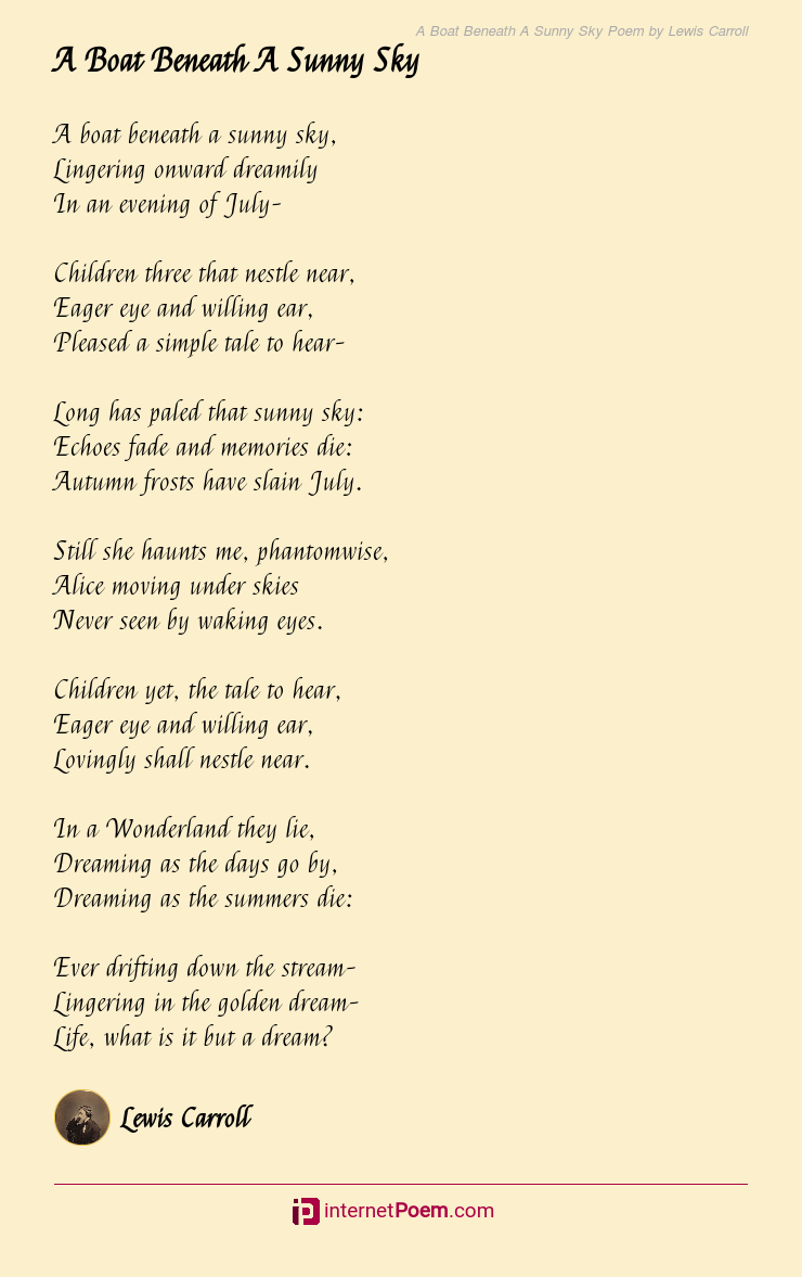 A Boat Beneath A Sunny Sky Poem By Lewis Carroll
