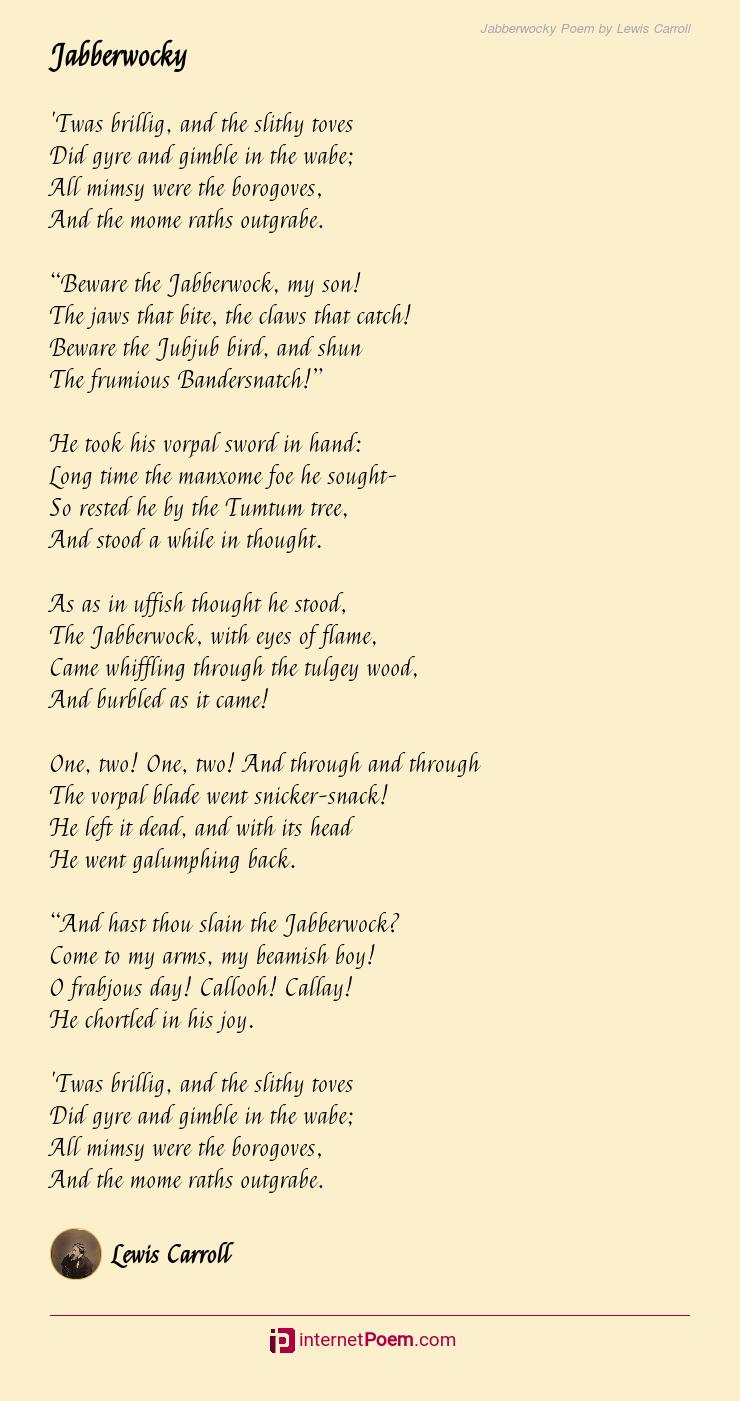 Jabberwocky Poem By Lewis Carroll