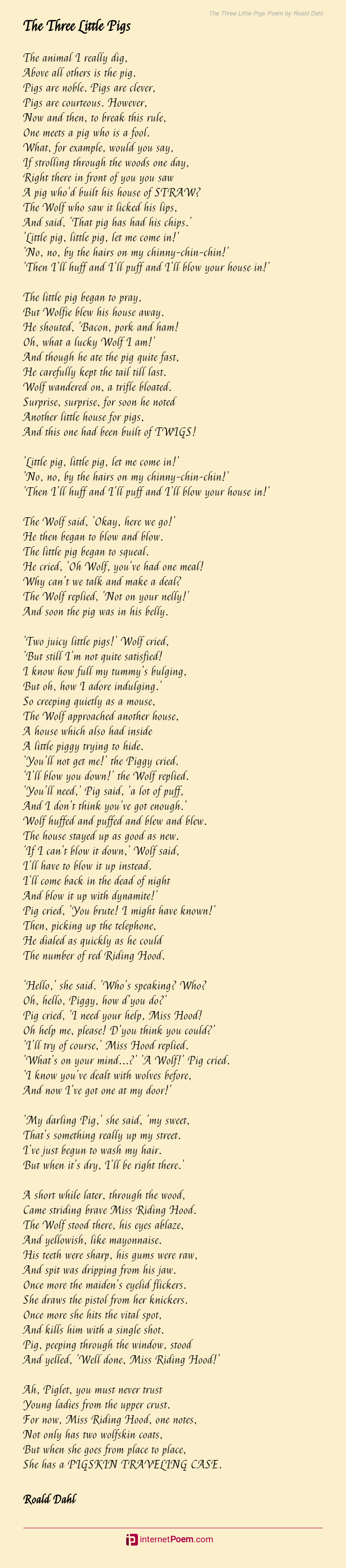 The Three Little Pigs Poem By Roald Dahl