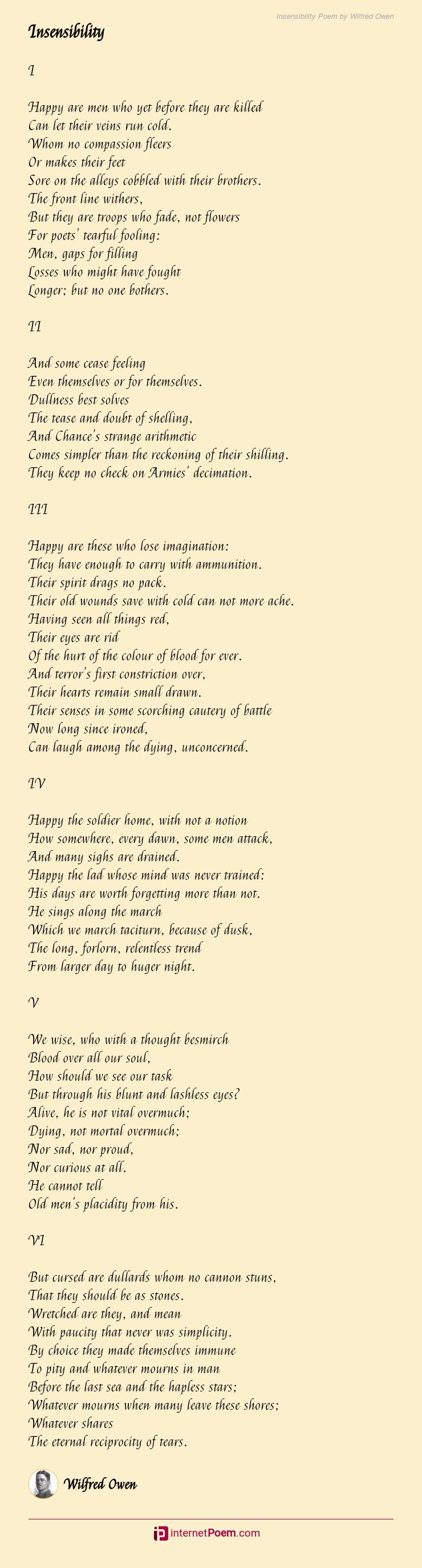 Insensibility Poem By Wilfred Owen