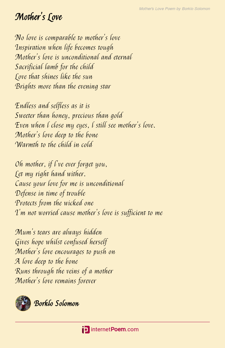 Mothers Love Poem By Borklo Solomon