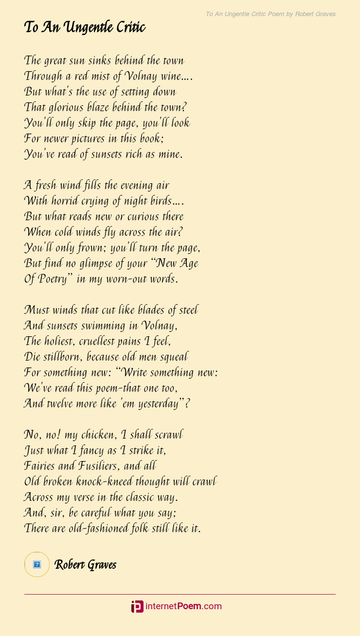 To An Ungentle Critic Poem By Robert Graves