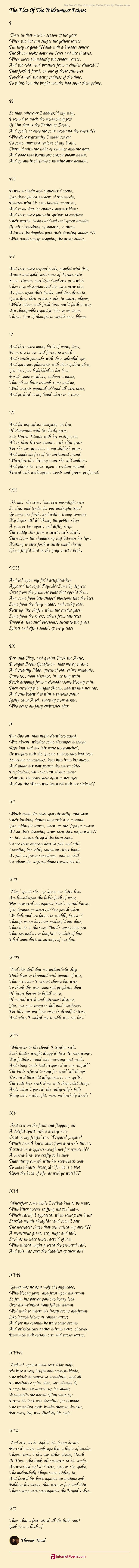 The Plea Of The Midsummer Fairies Poem By Thomas Hood