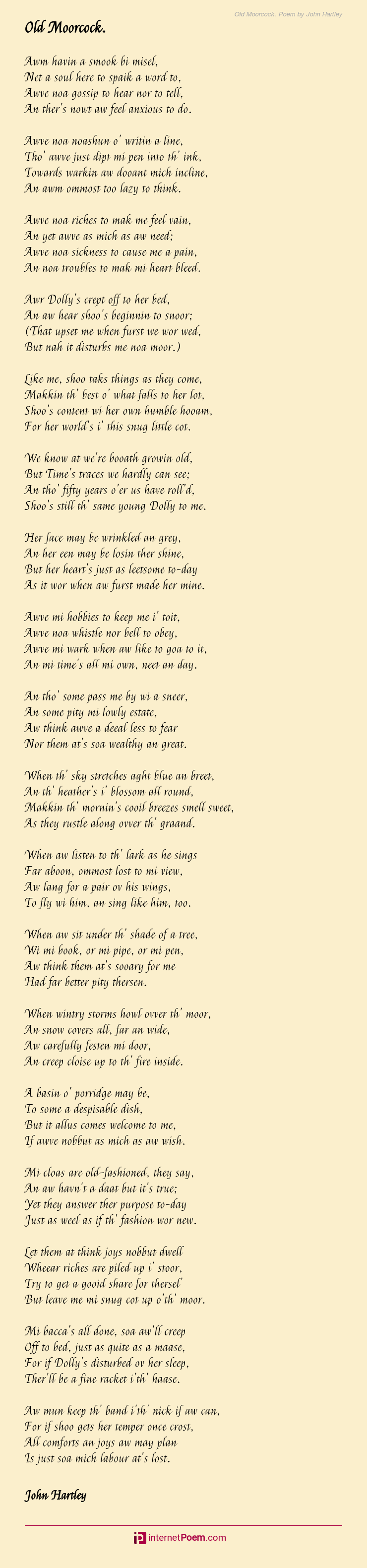 Old Moorcock Poem By John Hartley