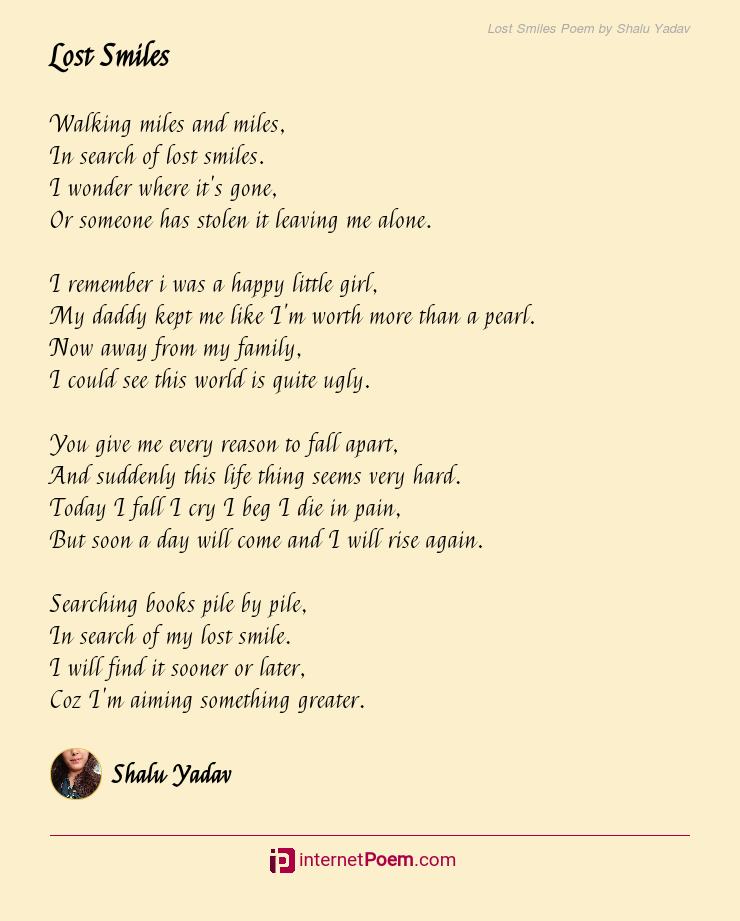 Lost Smiles Poem By Shalu Yadav