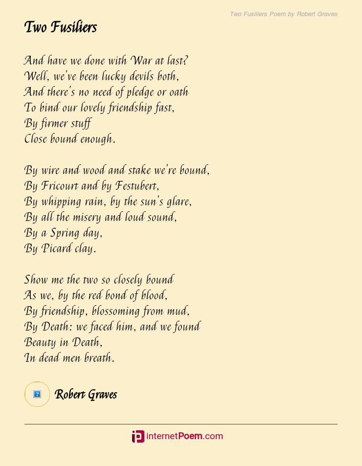 Two Fusiliers Poem By Robert Graves