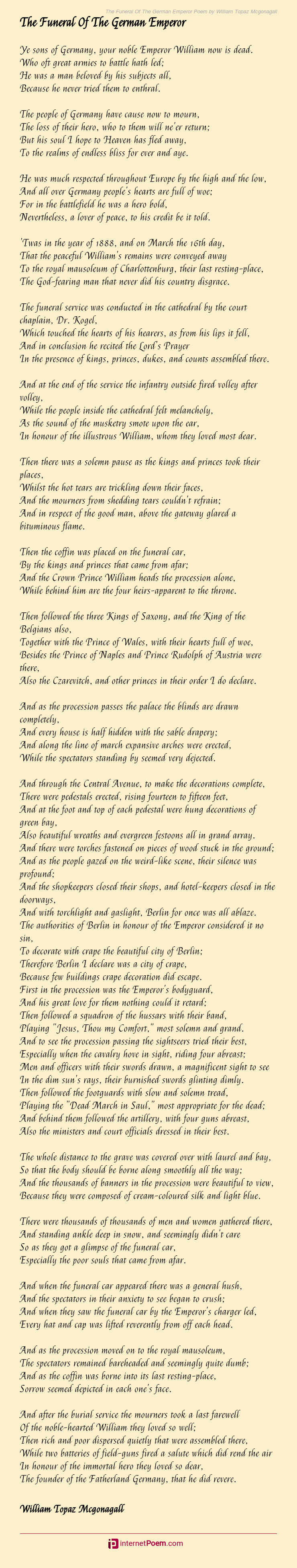 The Funeral Of The German Emperor Poem By William Topaz