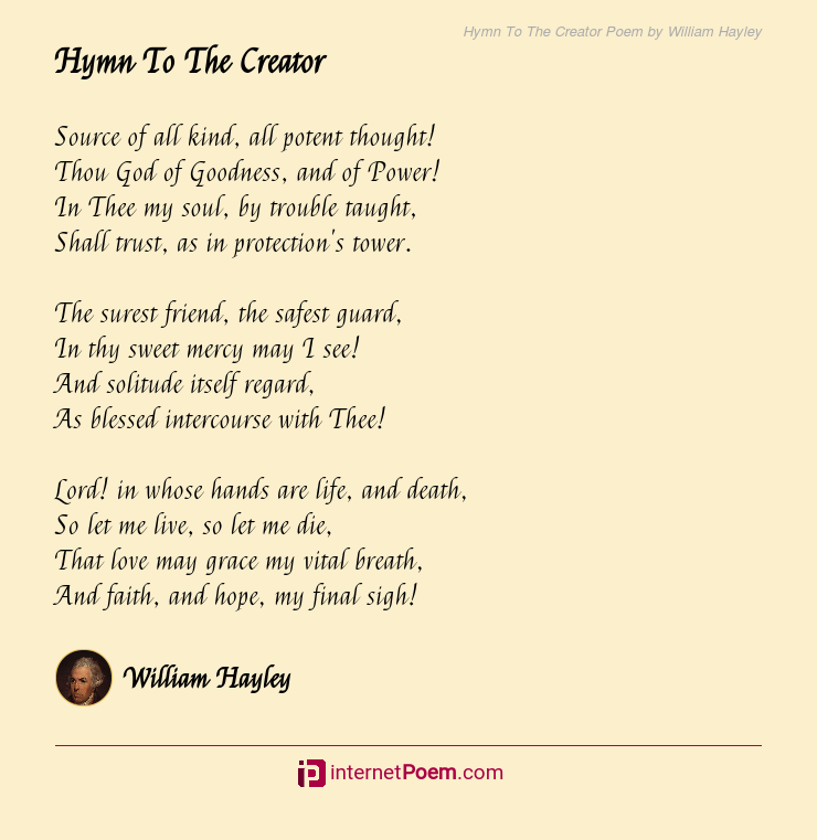 Hymn To The Creator Poem Rhyme Scheme The quickest way to learn is with the help of a professional poetry editor. hymn to the creator poem rhyme scheme