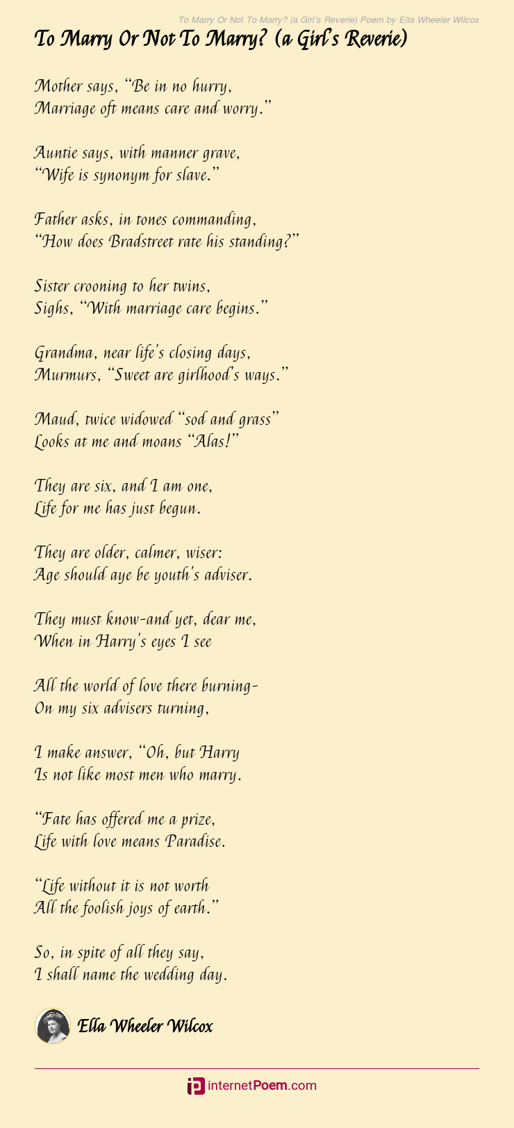 To Marry Or Not To Marry A Girl S Reverie Poem By Ella Wheeler Wilcox