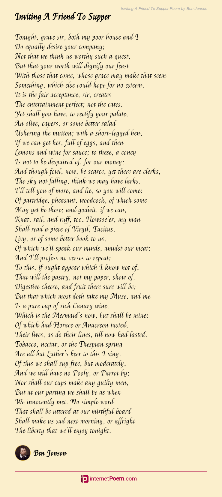 Friend To Supper Poem By Ben Jonson