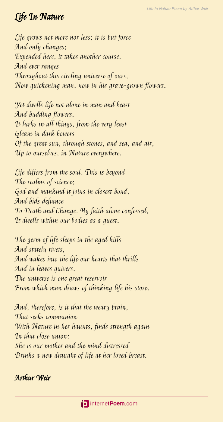 Life In Nature Poem By Arthur Weir Nature love poems or love poems about nature. life in nature poem by arthur weir