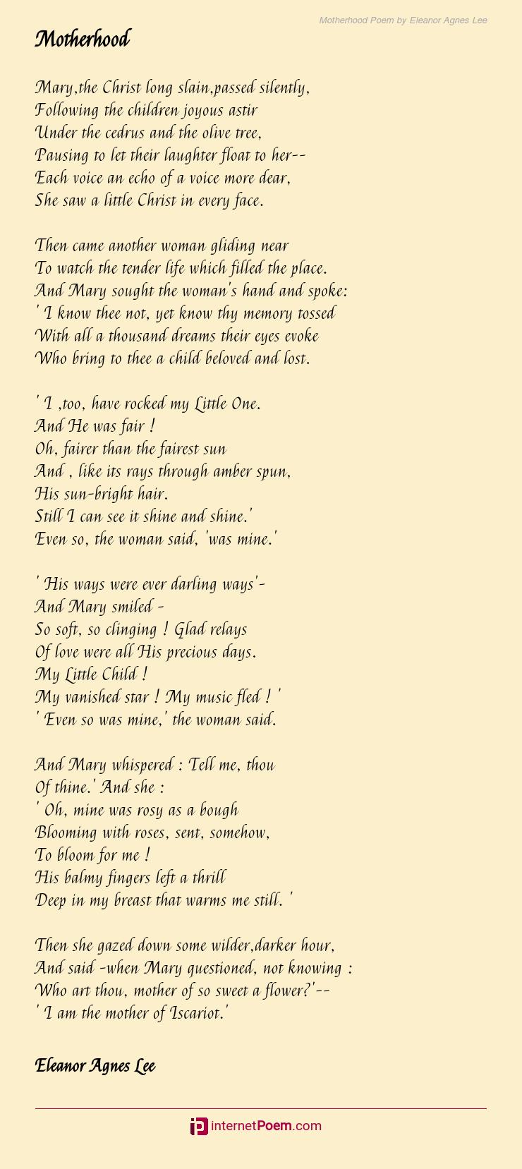 Motherhood Poem By Eleanor Agnes Lee