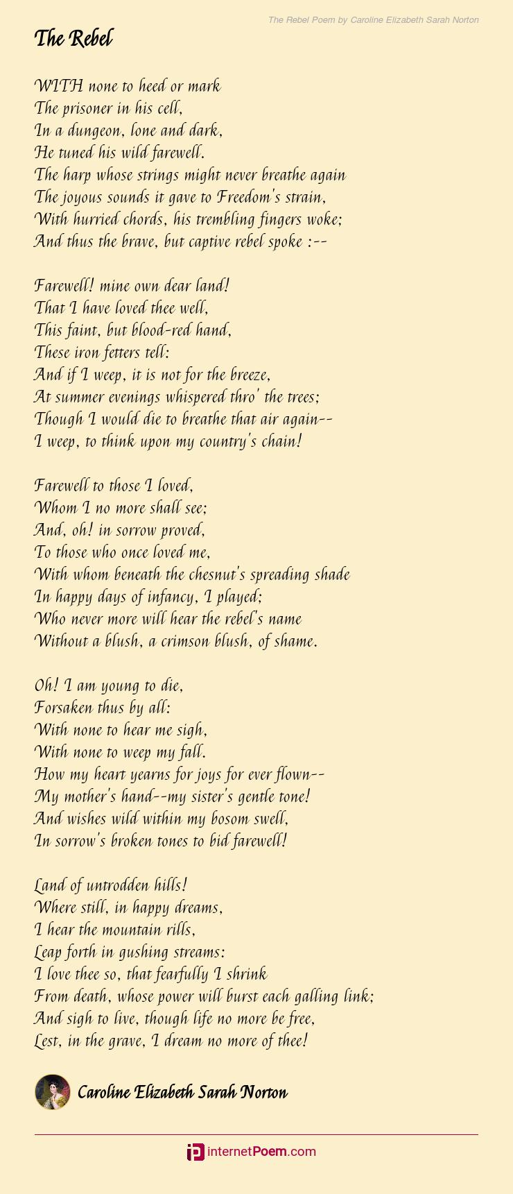 The Rebel Poem By Caroline Elizabeth Sarah Norton