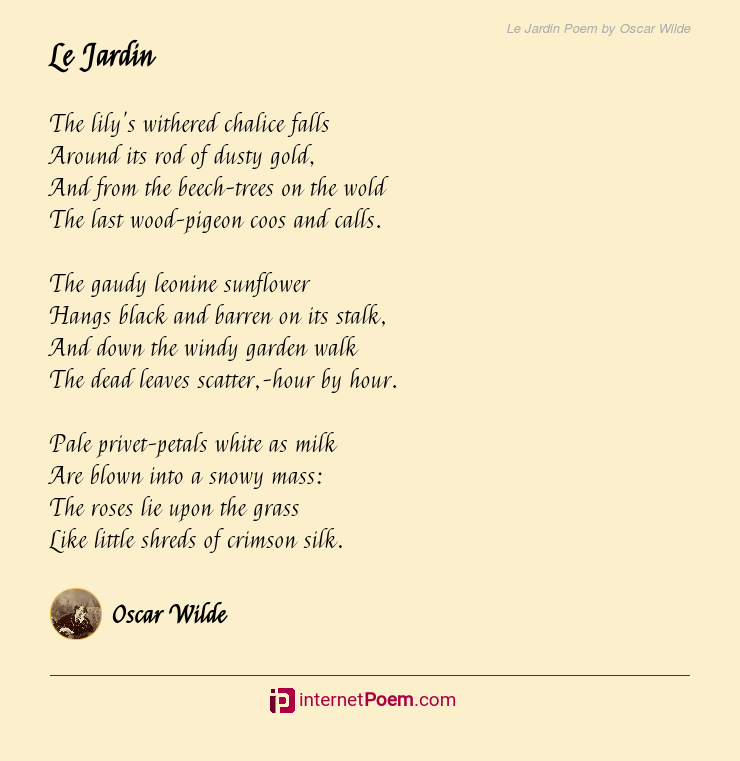 Le Jardin Poem By Oscar Wilde