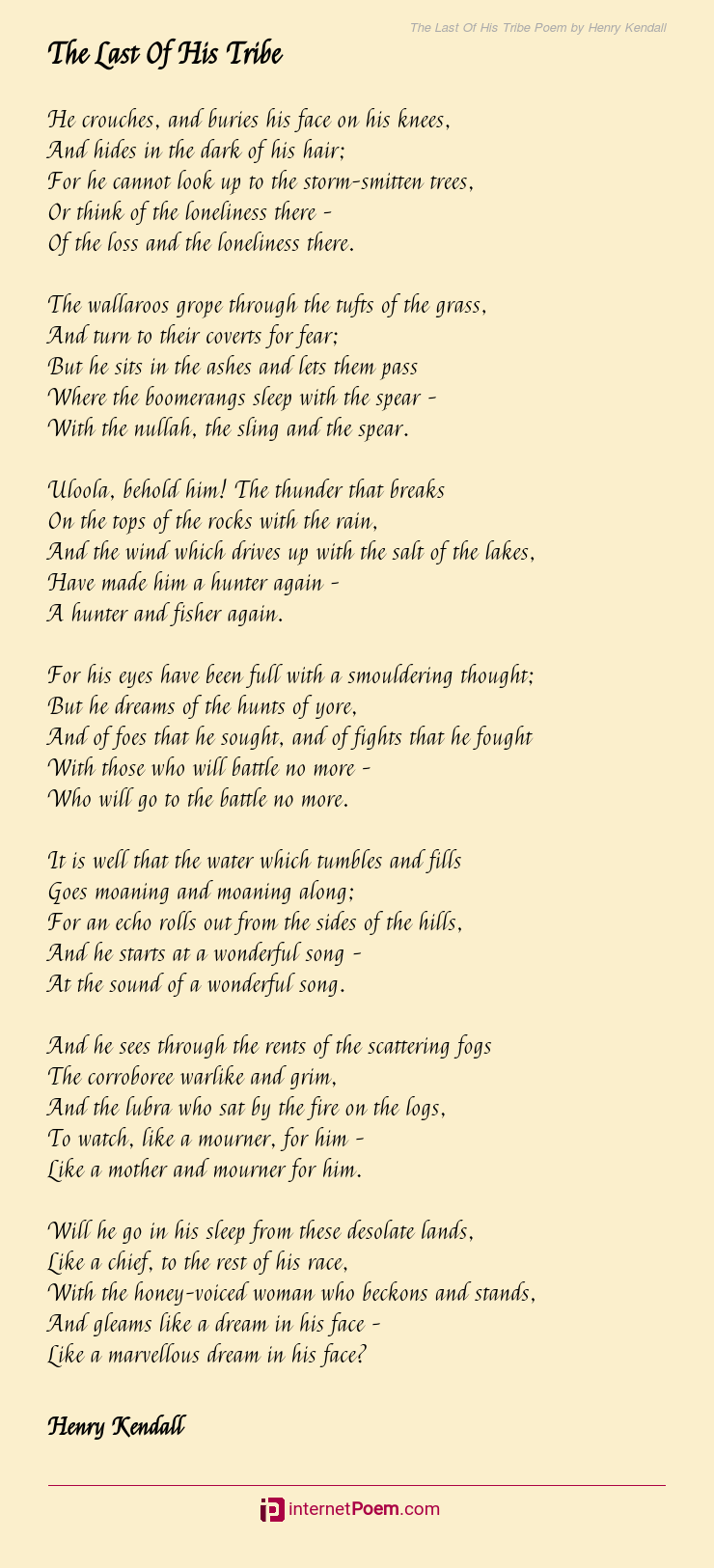 The Last Of His Tribe Poem By Henry Kendall