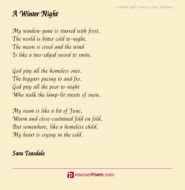 A Winter Night Poem By Sara Teasdale