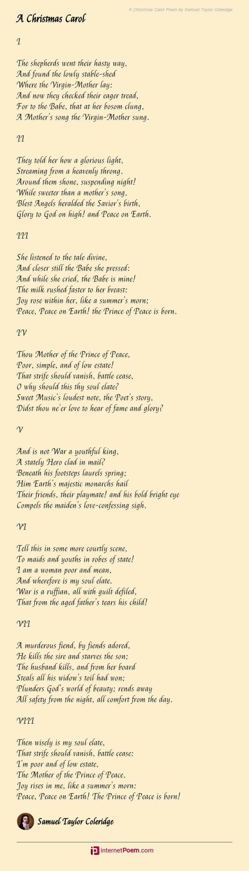 A Christmas Carol Poem By Samuel Taylor Coleridge