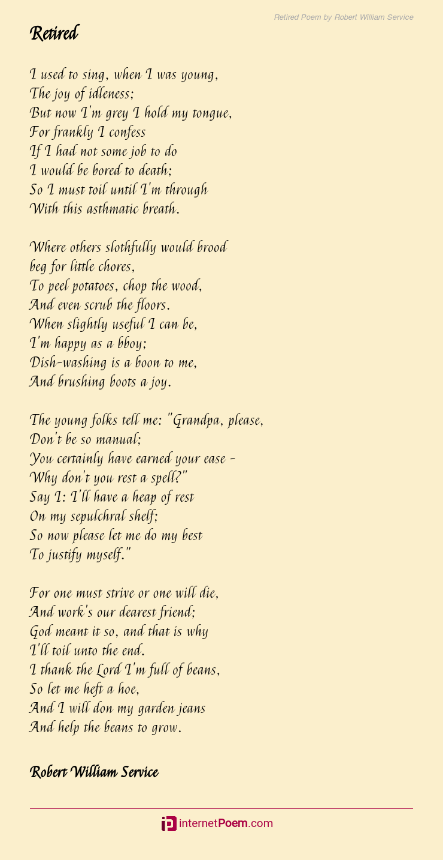 Retired Poem By Robert William Service