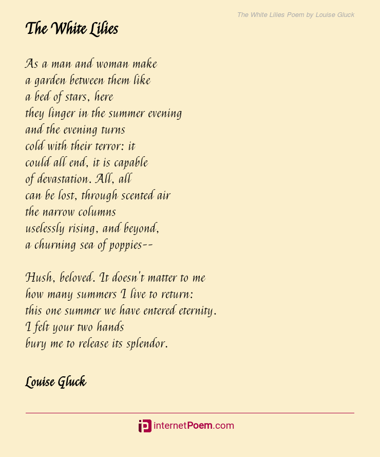 The White Lilies Poem By Louise Gluck