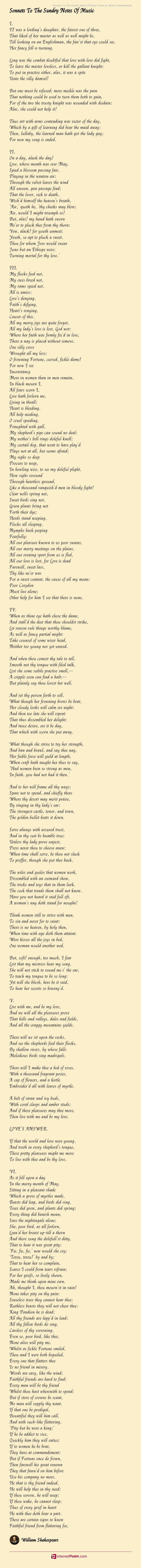 Sonnets To The Sundry Notes Of Music Poem by William