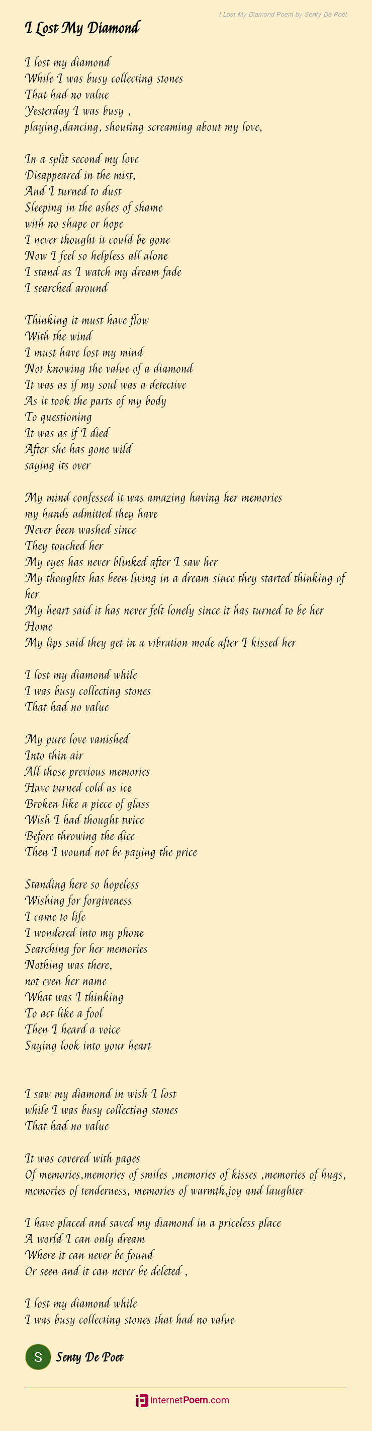 I Lost My Diamond Poem By Senty De Poet