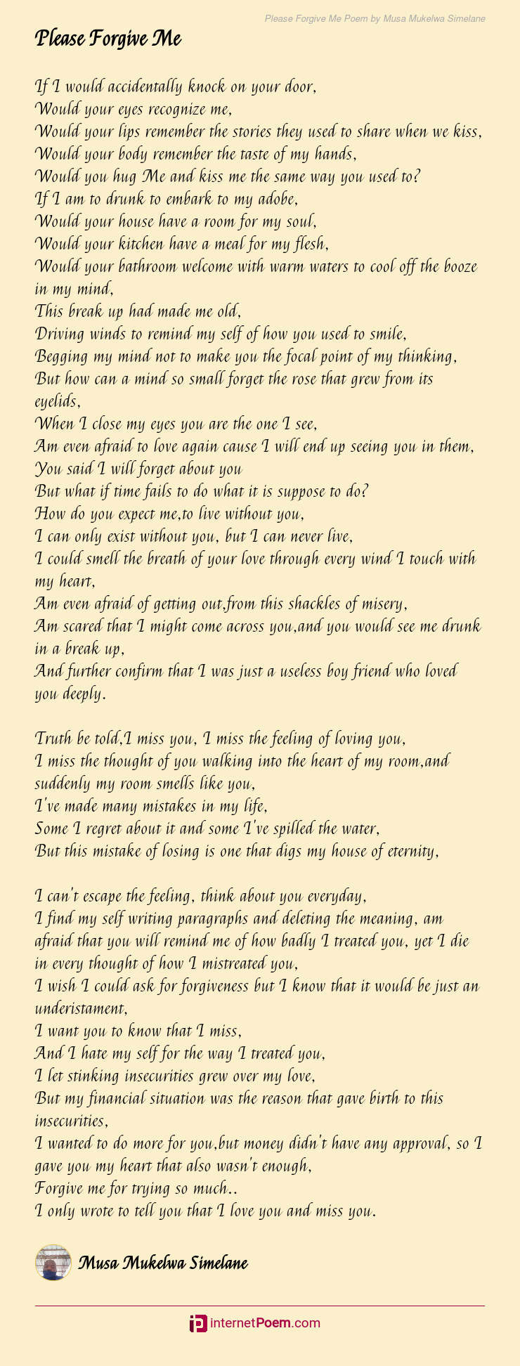 Love please forgive poems my me Short Love