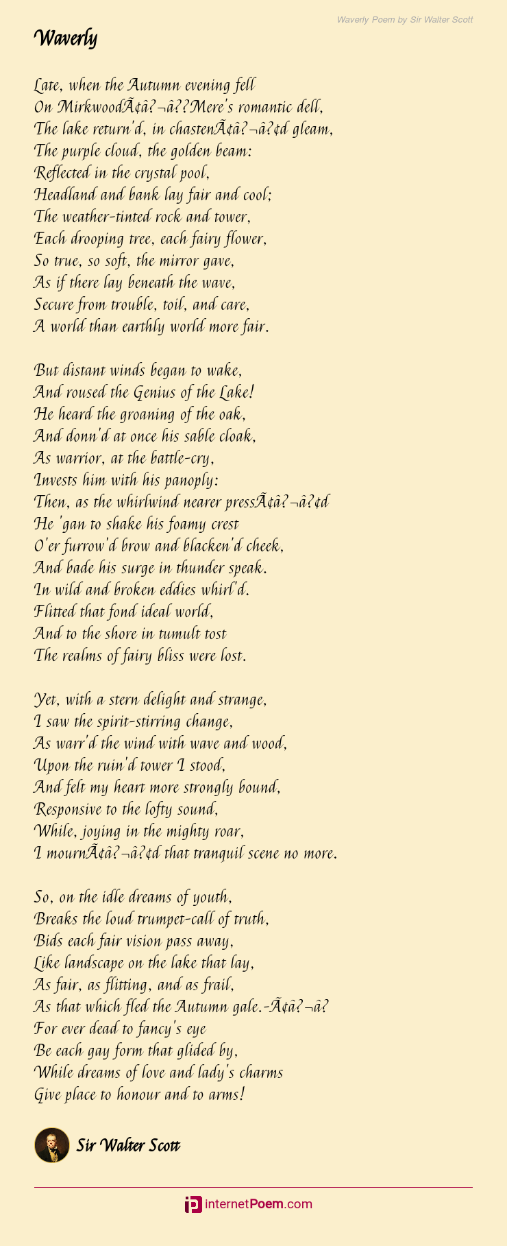 Waverly Poem By Sir Walter Scott