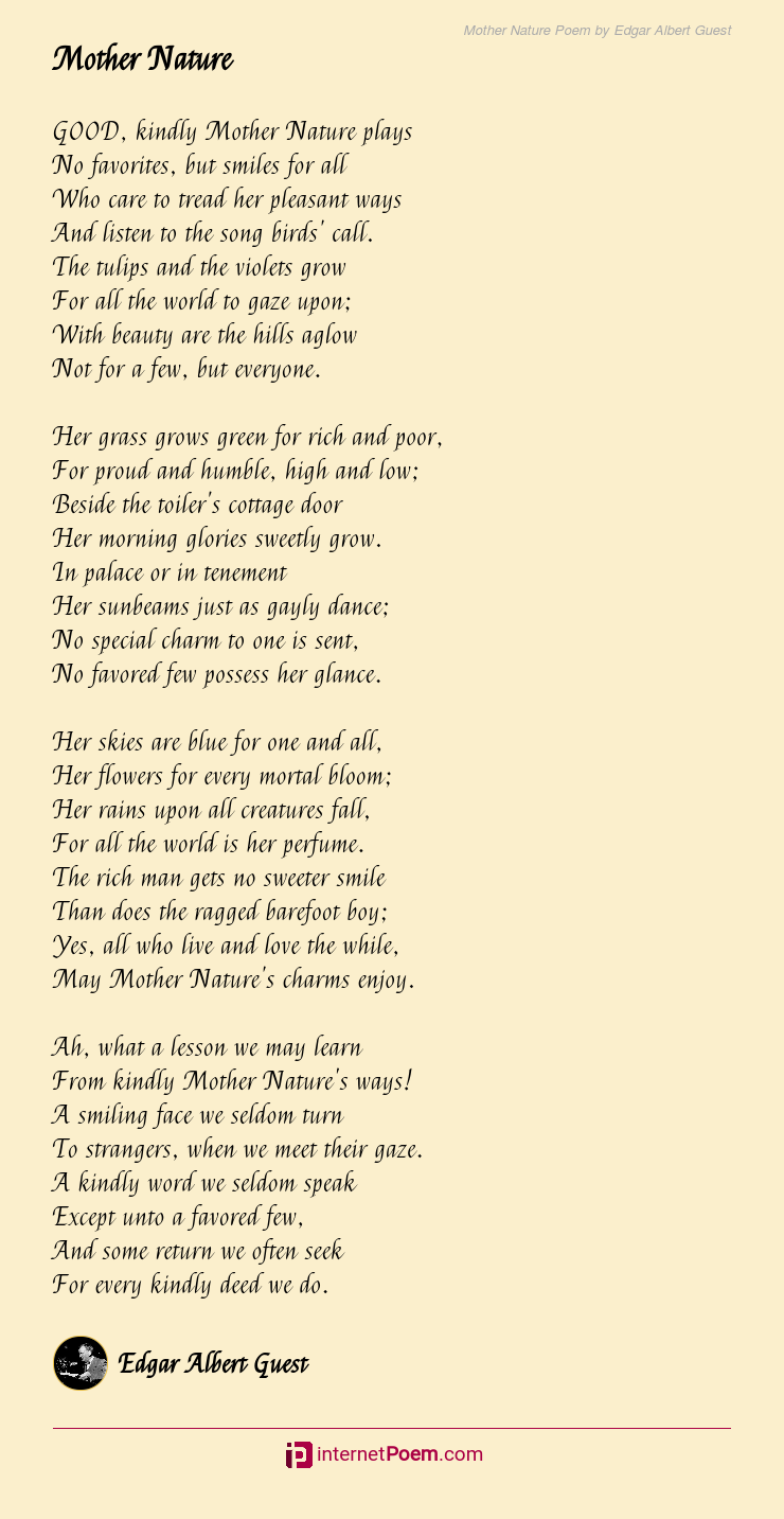 Mother Nature Poem By Edgar Albert Guest Here, see the best mother's day poems from daughter, poems for moms from sons, and even funny mother's. mother nature poem by edgar albert guest