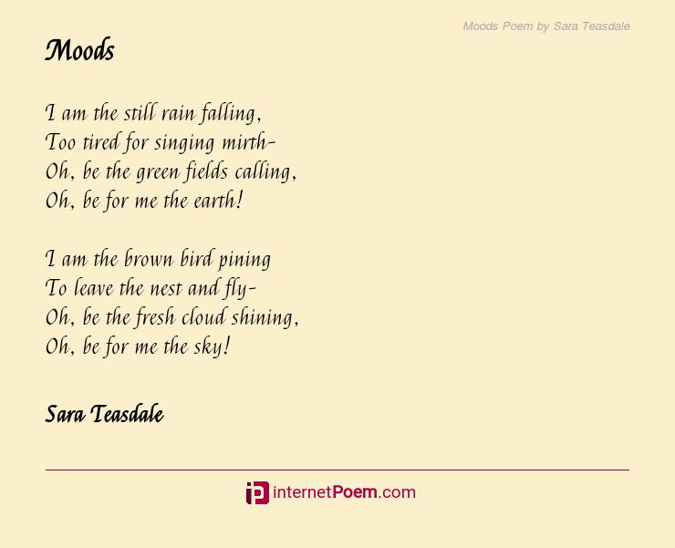 Moods Poem by Sara Teasdale
