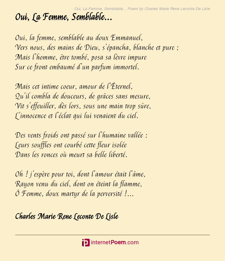 Oui La Femme Semblable Poem By Charles Marie Rene Leconte De Lisle