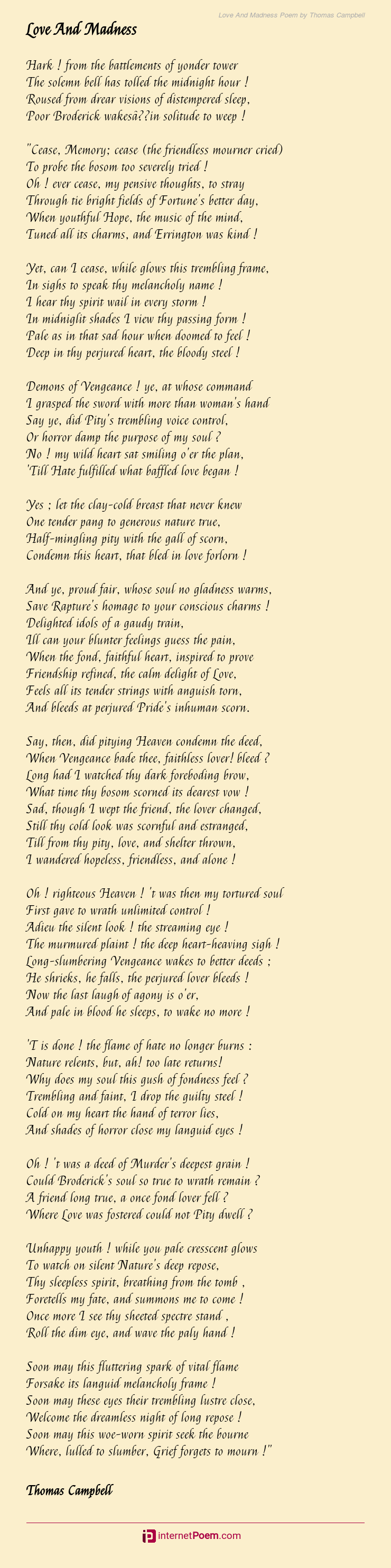 Love And Madness Poem By Thomas Campbell