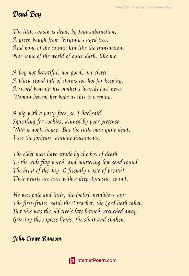 Dead Boy Poem By John Crowe Ransom