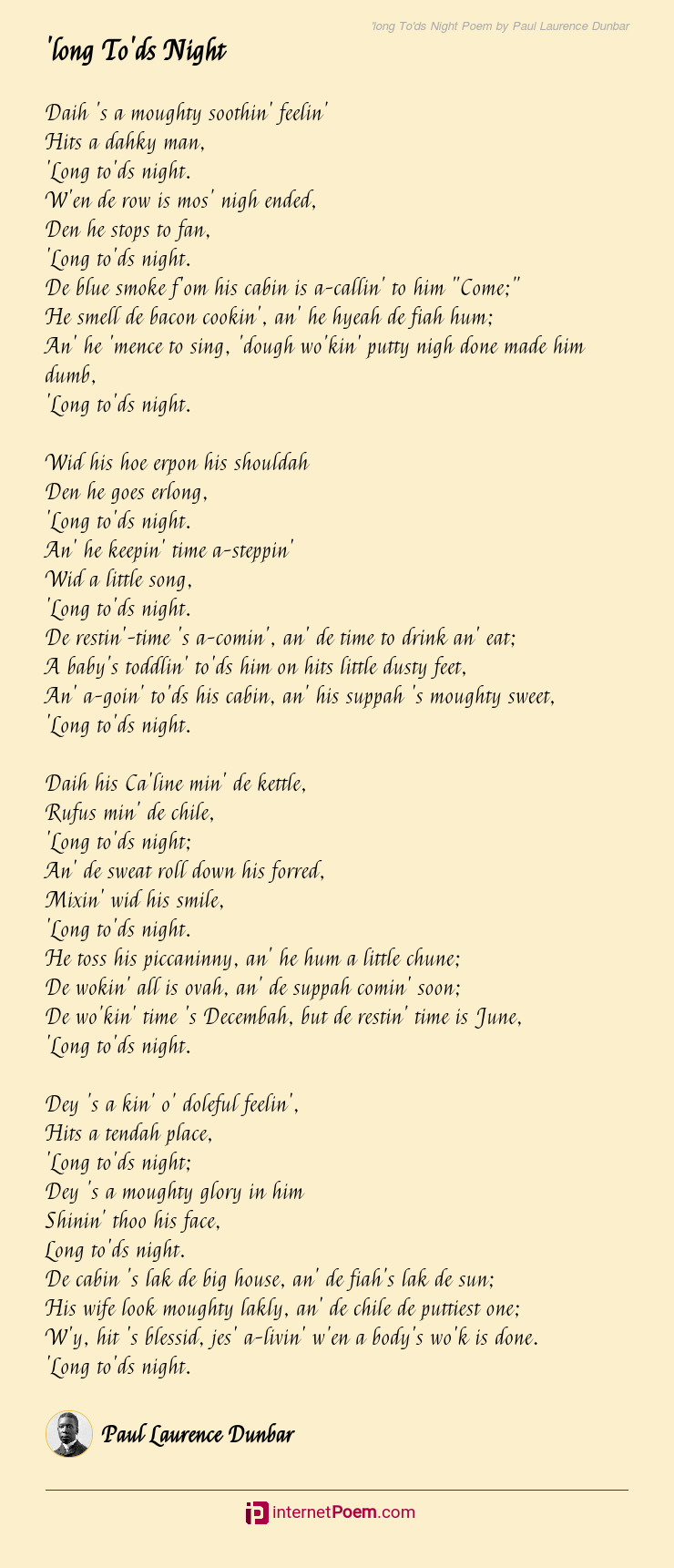 long To'ds Night Poem by Paul Laurence Dunbar