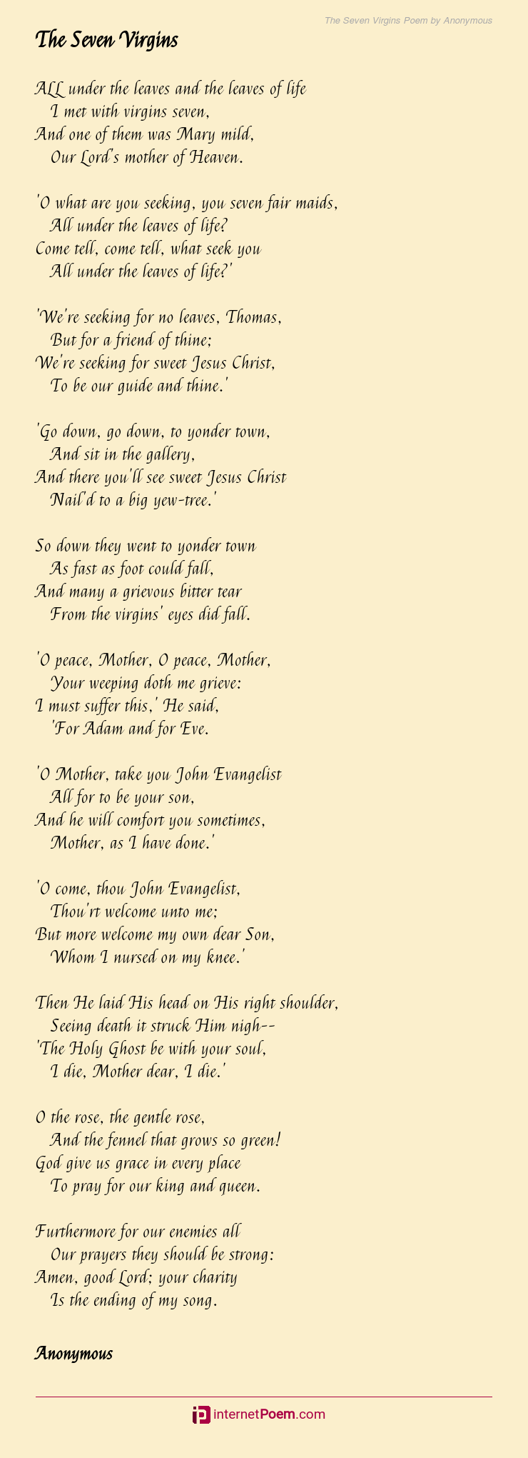 The Seven Virgins Poem by Anonymous